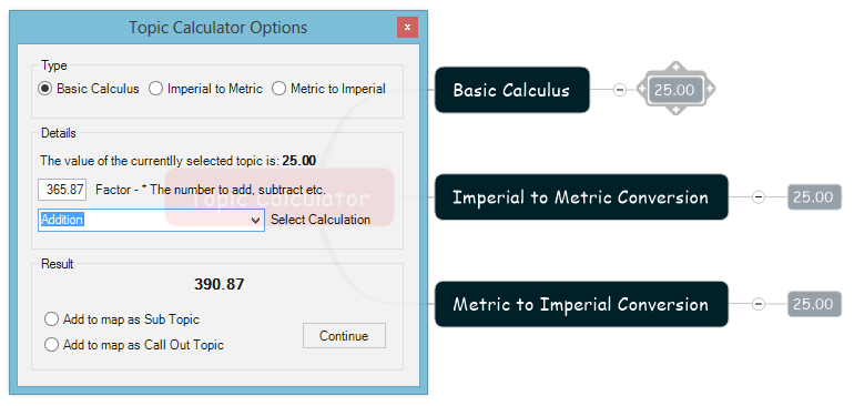 Topic Calculator Command Selected Topics and Options for Addition