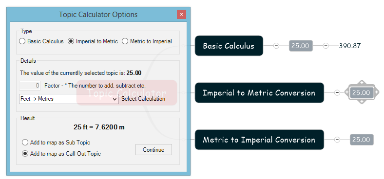 Topic Calculator Command Selected Topics and Options for Conversion